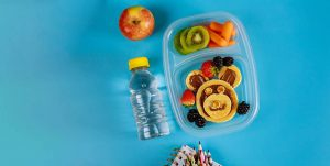 healthy lunchbox on blue background